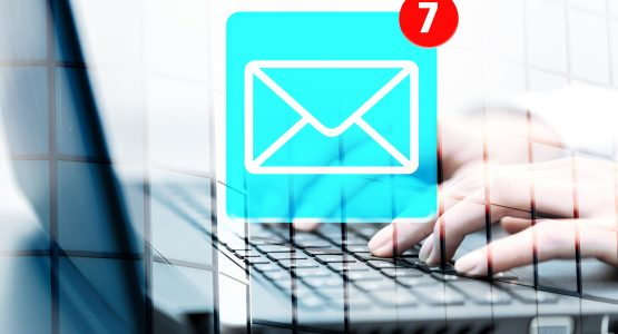 Concept of receiving email, chat, social media.