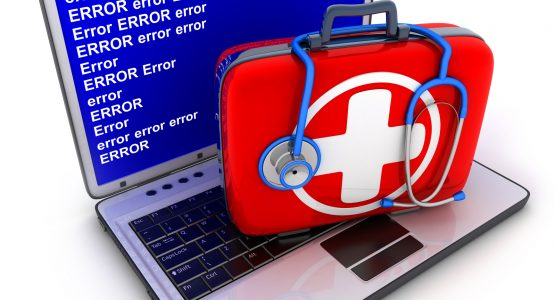 Laptop error and first-aid kit (done in 3d)